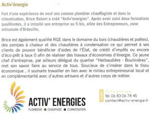 Actualités Activ' Energies journal d'Aubigny, mars 2017